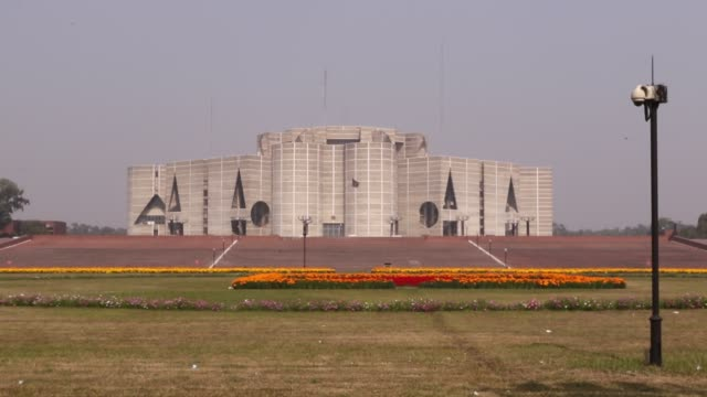jatiya sangsad bhaban or national parliament house is the house of the parliament of bangladesh located at sherebangla nagar in the bangladeshi... - parliament building stock videos & royalty-free footage