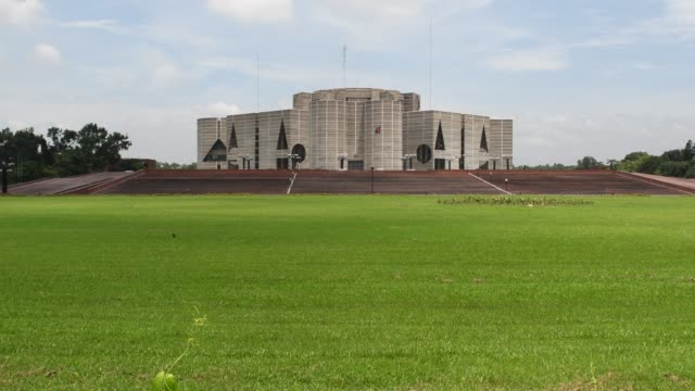 jatiya sangsad bhaban or national parliament house is the house of the parliament of bangladesh - parliament building stock videos & royalty-free footage