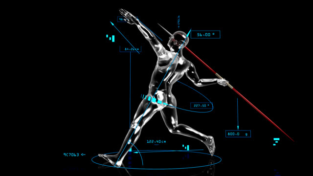 3d javelin thrower with technical data - javelin stock videos & royalty-free footage
