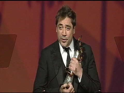 Javier Bardem accepting award at the 22nd Annual Palm Springs International Film Festival Awards Gala at Palm Springs CA