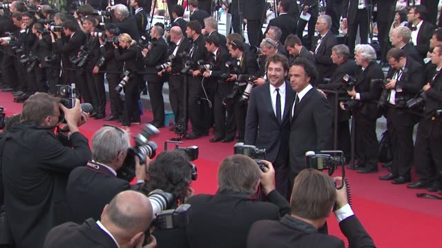javier bardem and alejandro gonzalez inarritu at the closing night/the tree red carpet cannes film festival 2010 at cannes - javier bardem stock videos and b-roll footage