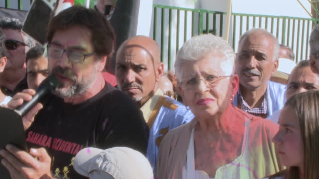 Javier Bardem and his mother Pilar Bardem Attend the Protest in favor of the Sahara