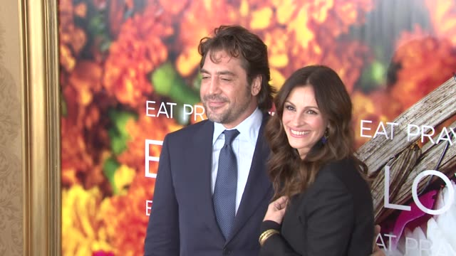 javier bardem and julia roberts at the 'eat pray love' new york premiere at new york ny - javier bardem stock videos and b-roll footage