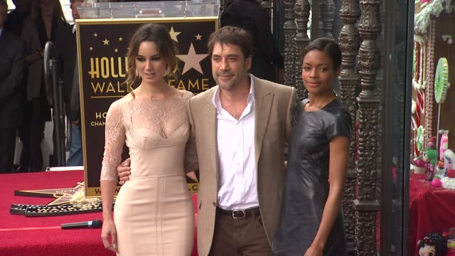javier bardem berenice marlohe and naomie harris at javier bardem honored with star on the hollywood walk of fame in hollywood ca on 11/8/12 - javier bardem stock videos and b-roll footage