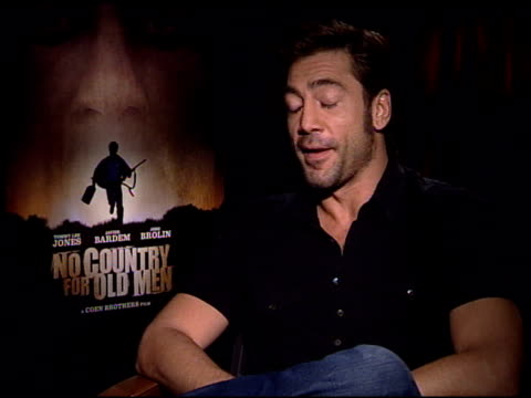javier bardem explains the most difficult part of working on this film was being so serious at the 'no country for old men' press junket at the four... - javier bardem stock videos and b-roll footage