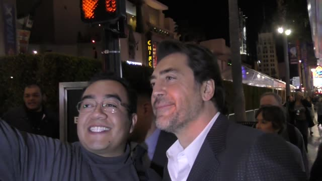 javier bardem greets fans outside beauty and the beast premiere at el capitan theatre in hollywood in celebrity sightings in los angeles - javier bardem stock videos and b-roll footage