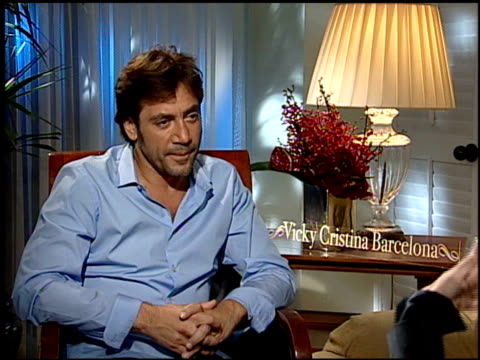 on his character on working with woody allen on filming in barcelona on playing an artist and his reallife painting talent at the 'vicky cristina... - javier bardem stock videos and b-roll footage