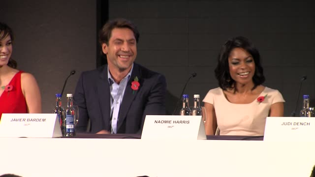 javier bardem naomie harris and berenice marlohe on the stunt training they are undergoing at the bond 23 launch press conference skyfall at london... - skyfall stock videos and b-roll footage