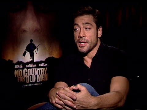 javier bardem on getting rid of his spanish accent as much as he could and the comparision between working hard and being talented at the 'no country... - javier bardem stock videos and b-roll footage