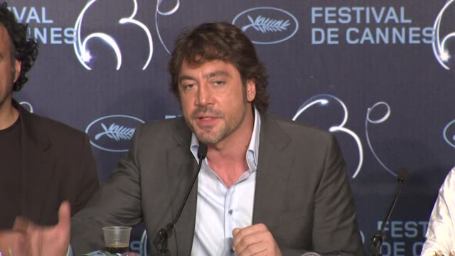 javier bardem on his approach to developing his character at the biutiful press conference cannes film festival 2010 at cannes - javier bardem stock videos and b-roll footage