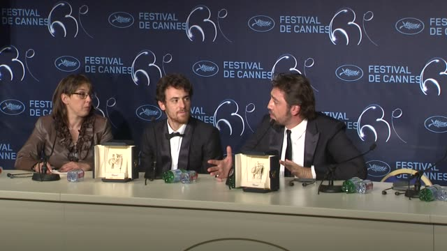javier bardem on how he feels about winning with this character at the palme d'or press conference cannes film festival 2010 at cannes - javier bardem stock videos and b-roll footage