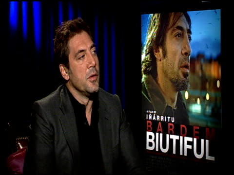Javier Bardem on if there was a story line that was more difficult for him to play or helped him learn about himself at the 'Biutiful' Junket at Los...