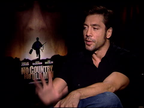 Javier Bardem on preparing his creepy character at the 'No Country For Old Men' Press Junket at the Four Seasons Hotel in Los Angeles California on...