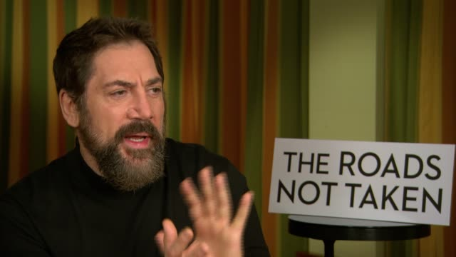 vídeos y material grabado en eventos de stock de interview javier bardem on whether characters such as bond villains offer as much to an actor as independent roles at 'the roads not taken'... - actor