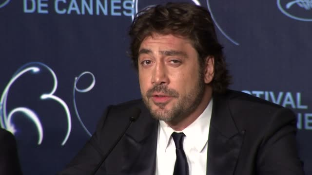 javier bardem on winning the best actor award at the palme d'or press conference cannes film festival 2010 at cannes - javier bardem stock videos and b-roll footage