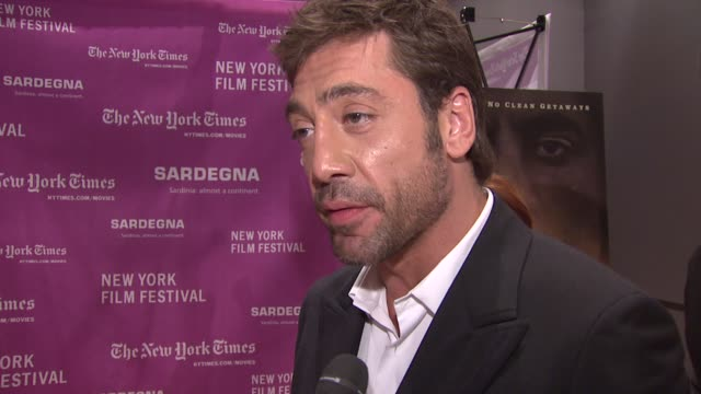 Javier Bardem on working with the Coen Brothers and with other cast and crew at the 'No Country for Old Men' New York Premiere at Frederick P Rose...