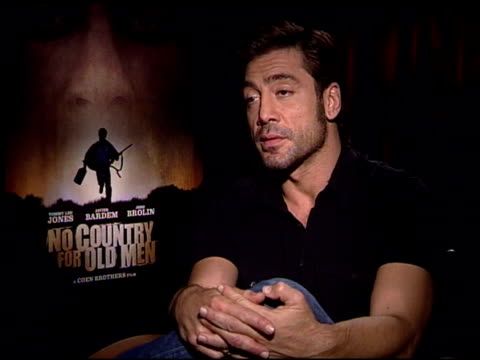 Javier Bardem on working with the Coen Brothers at the 'No Country For Old Men' Press Junket at the Four Seasons Hotel in Los Angeles California on...