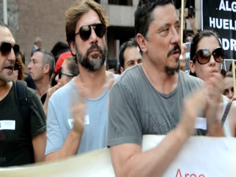 Javier Bardem takes part in a demostration protest Javier Bardem takes part in a demostration protest on July 19 2012 in Madrid Spain