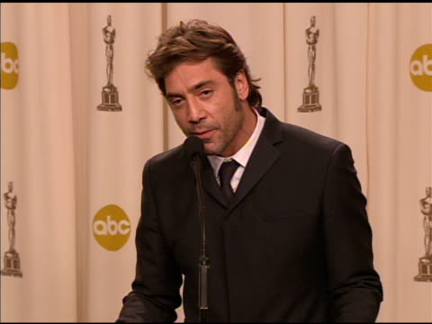 Javier Bardem winner of the Best Supporting Actor award for 'No Country For Old Men' at the 2008 Academy Awards at the Kodak Theatre in Hollywood...