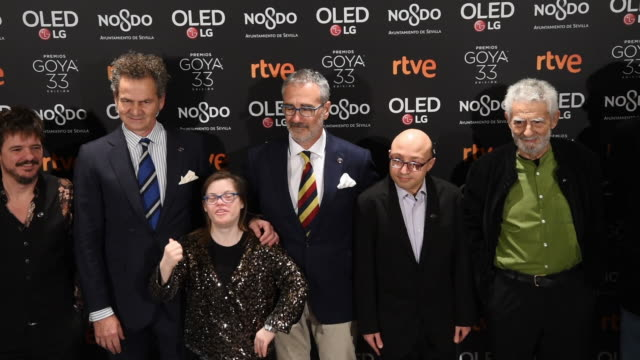 stockvideo's en b-roll-footage met javier fesser gloria ramos jesus vidal juan margallo and the cast of the champions movie attend the candidates to goya cinema awards 2019 dinner... - ensemble lid