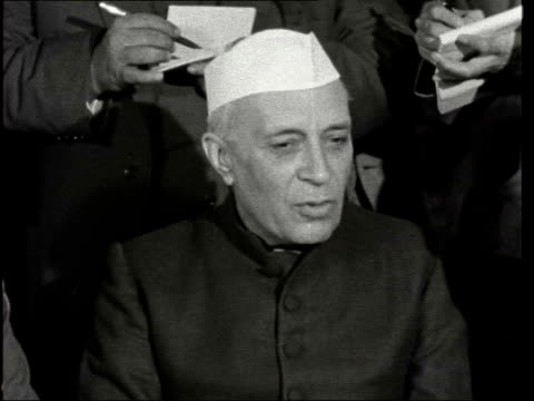 jawaharlal nehru interview ***also london lap int jawaharlal nehru interview sof will not comment on cyprus washington tito - itv news at ten stock-videos und b-roll-filmmaterial