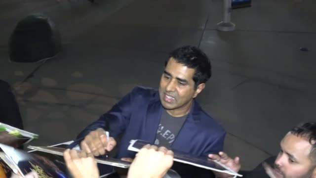 jay chandrasekhar signs for fans at the super troopers 2 premiere at arclight cinemas in hollywood in celebrity sightings in los angeles - super troopers 2 stock videos & royalty-free footage
