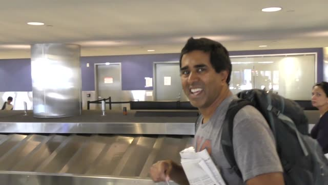 interview jay chandrasekhar talks about super troopers 2 while arriving at lax airport in los angeles in celebrity sightings in los angeles - super troopers 2 stock videos & royalty-free footage