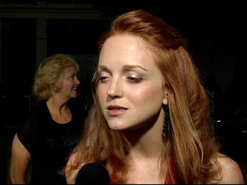 jayma mays on her reaction to working with wes craven her character a freaky airplane experience she's had and on the draw for this film being the... - jayma mays stock videos and b-roll footage