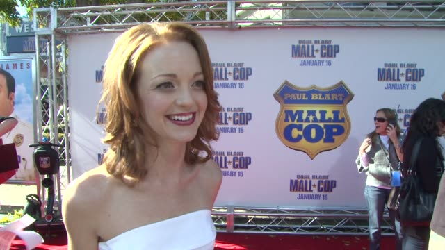 jayma mays on how a man with a moustache turns her on and about kevin james on a segway at the 'paul blart mall cop' premiere at los angeles ca - jayma mays stock videos and b-roll footage