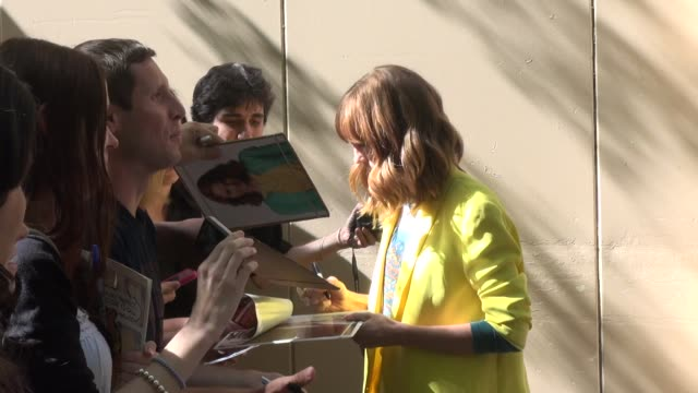 jayma mays with fans at the 'live with kelly and michael' studio in new york ny on 7/31/13 - jayma mays stock videos and b-roll footage