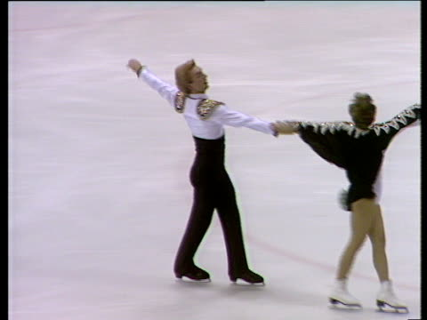 jayne torvill and christopher dean perform 'paso doble' short programme british ice dance championships nottingham nov 83' - figure skating stock videos & royalty-free footage