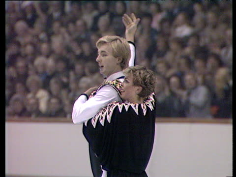 Jayne Torvill and Christopher Dean take bow after performing 'Paso Doble' short programme British Ice Dance Championships Nottingham Nov 83
