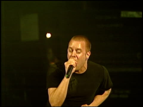jayz with linkin park at the 'music for relief rebuilding south asia' benefit show at arrowhead pond in aneheim california on february 18 2005 - linkin park stock videos and b-roll footage