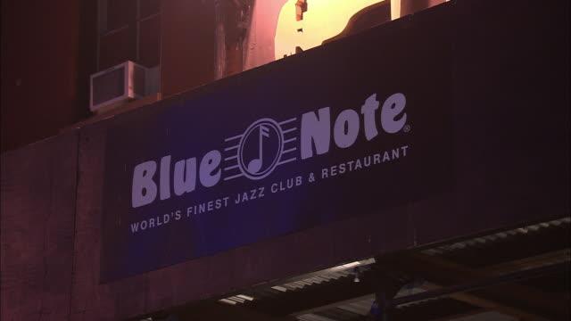 cu, jazz club blue note sign, west village, new york city, new york, usa - jazz stock videos & royalty-free footage
