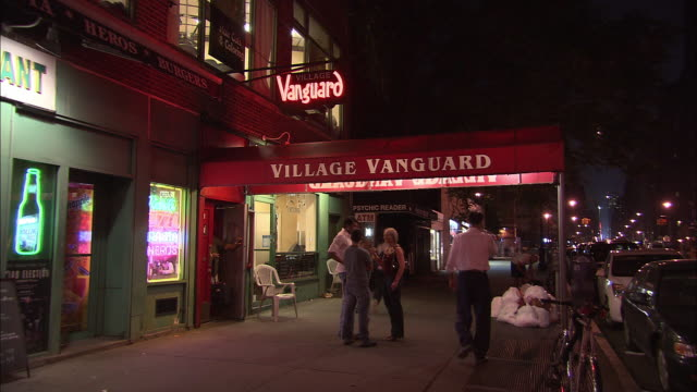 ms, jazz club village vanguard entrance, west village, new york city, new york, usa - awning stock videos and b-roll footage