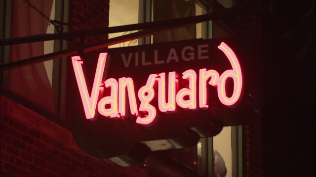 cu, jazz club village vanguard neon sign, west village, new york city, new york, usa - greenwich village stock videos & royalty-free footage