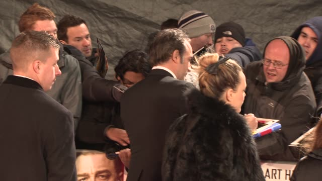 jean dujardin at 'the monuments men' uk film premiere at national gallery on february 11 2014 in london england - jean dujardin stock videos and b-roll footage