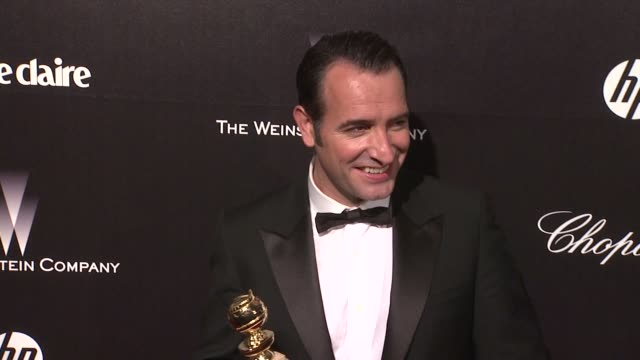 jean dujardin at the weinstein company golden globe afterparty at the beverly hilton hotel on 1/15/12 in los angeles ca - jean dujardin stock videos and b-roll footage