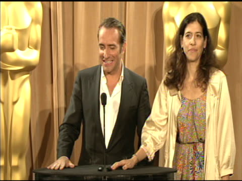 vídeos de stock, filmes e b-roll de jean dujardin on being nominated at the 84th academy awards nominations luncheon in beverly hills, ca, on 2/6/12 - jean dujardin