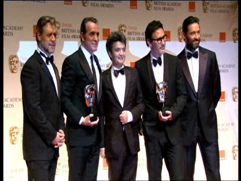 Jean Dujardin Thomas Langmann Michel Hazanavicius Russell Crowe and Hugh Jackman at the Orange British Academy Film Awards 2012 Press Room Jean...