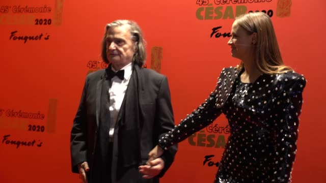 vidéos et rushes de jean francois truffaud's favorite actor jean pierre leaud and actress sara forestier attend the dinner at le fouquet's, as part of the cesar film... - cesar