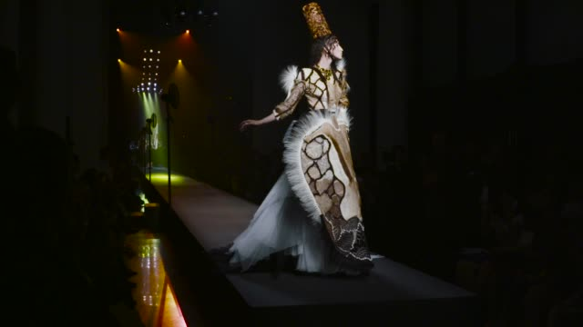 stockvideo's en b-roll-footage met jean paul gaultier haute couture on july 08, 2015 in paris, france. note - this edit has no audio. it was edited to rf getty music 807775 winter song... - 2015