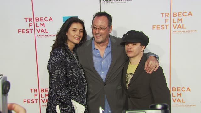 jean reno olivier dahan and guest at the 'my own love song' premiere 9th annual tribeca film fest at new york ny - open collar stock videos and b-roll footage