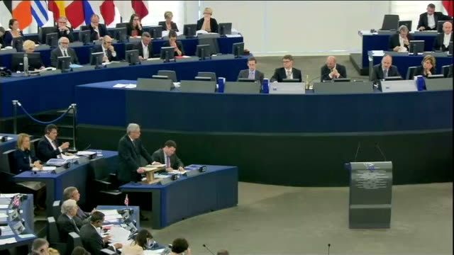 jean-claude juncker sets out plans as new president of european commission; france: strasbourg: european parliament: int jean-claude juncker arriving... - mep stock videos & royalty-free footage