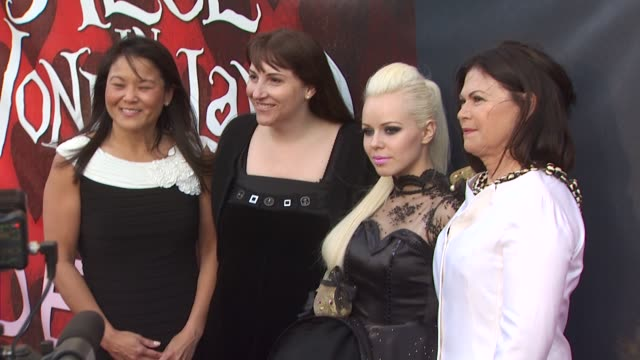 jeanie hobson lori macpherson kerli and colleen atwood at the opening night of fidm exhibit for walt disney studios 'alice in wonderland' at los... - alice in wonderland stock videos and b-roll footage