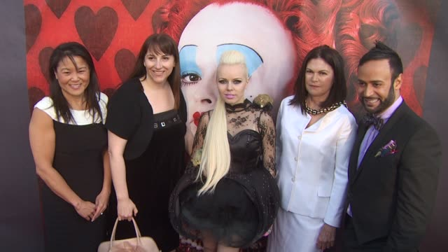 jeanie hobson lori macpherson kerli colleen atwood and nick verreos at the opening night of fidm exhibit for walt disney studios 'alice in... - alice in wonderland stock videos and b-roll footage