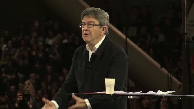 jeanluc melenchon held a rally in lille in northern france wednesday - lille stock videos & royalty-free footage