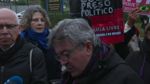 jeanluc melenchon leader of la france insoumise talks to reporters after his visit to former left wing president lula at the premises of the federal... - brasile meridionale video stock e b–roll