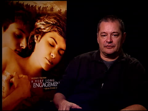 vídeos de stock, filmes e b-roll de jeanpierre jeunet on the difference between writing an original script like 'amélie' and adaptating an existing work as in this film at the 'a very... - um longo domingo de noivado