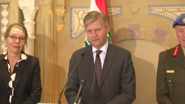 jeanpierre lacroix un undersecretarygeneral for peacekeeping operations meets with lebanese premier saad hariri and holds a news conference in beirut... - 平和維持点の映像素材/bロール